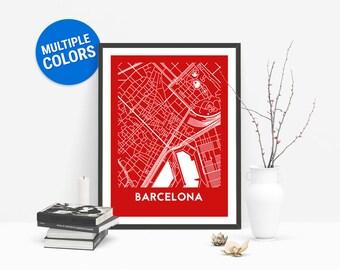 Barcelona Full Color Map Print   Barcelona Spain Map   Barcelona Art