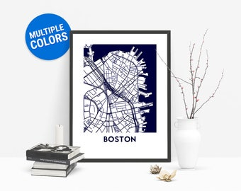 Boston Full Color Map Print   Boston United States Map   Boston Massachusetts USA Art