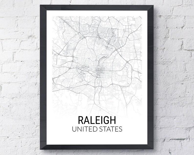 Raleigh North Carolina Usa Map Print City Map Black And Etsy - Raleigh-nc-on-us-map