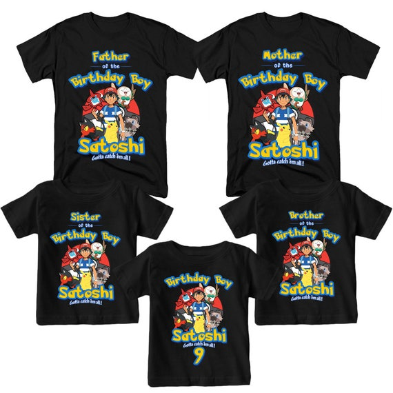 Pokemon Shirt Personalized Name and Age Birthday Shirt