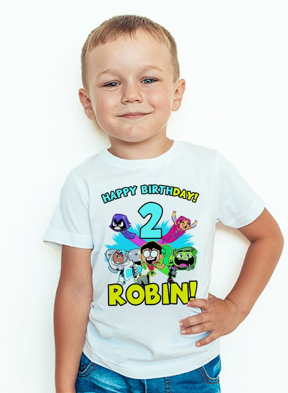 boy/'s birthday t-shirt. Teen Titans Go Birthday T-shirt-Personalised girl/'s