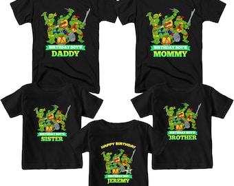 Teenage Mutant Ninja Turtles Birthday Shirt Custom  T-Shirt Name and Age Personalized TMNT Birthday Shirts Family Birthday T-Shirts