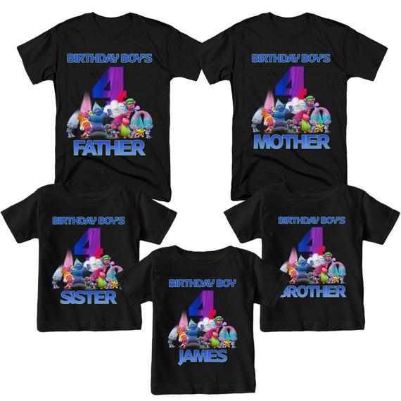 Trolls Birthday Shirt Family Birthday Shirts Custom Name and Age
