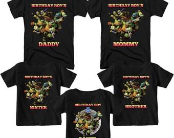Teenage Mutant Ninja Turtles Birthday Shirt Personalized T-Shirt Name and Age Custom TMNT Birthday Shirts Family Birthday T-Shirts