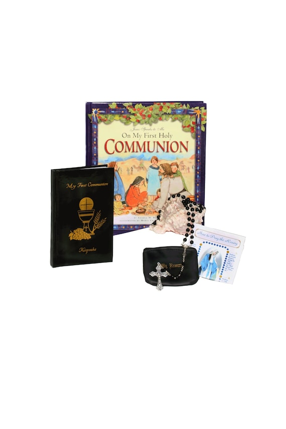great gift HOLY COMMUNION beautiful mass book in bag purse with personalisation