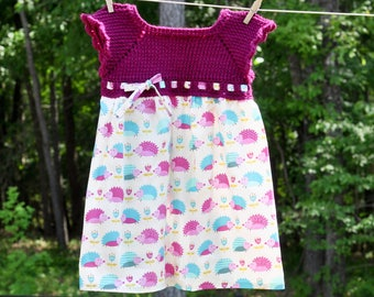 Toddler Hedgehog Dress ~ Crocheted top + Cotton skirt ~ Perfect for birthday party or everyday wear!
