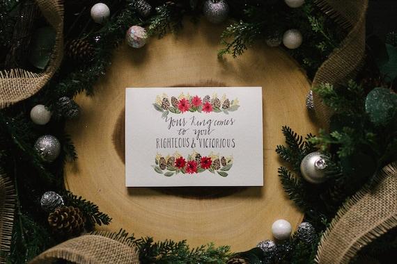Schrift-Druck Aquarell Bibel-Vers Weihnachtskarte gerechten | Etsy