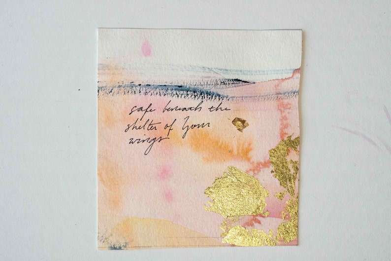 Psalms Project: 61-70 Abstract Watercolor Art Gold Leafing Psalm 61:4