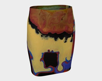 Very Kewl Fitted Skirt. All of my fashions are designed from my paintings. Buy one if U dare?