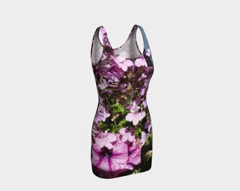 Purple Flowers Bodycon Dress: Just right for a night out with your friends