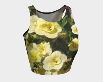 Cream Flowers Tank/Crop Top