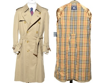 92b62d829a77 Vintage BURBERRY Classic Double Breasted Below-Knee Trench Coat Raincoat  40S Short Size M