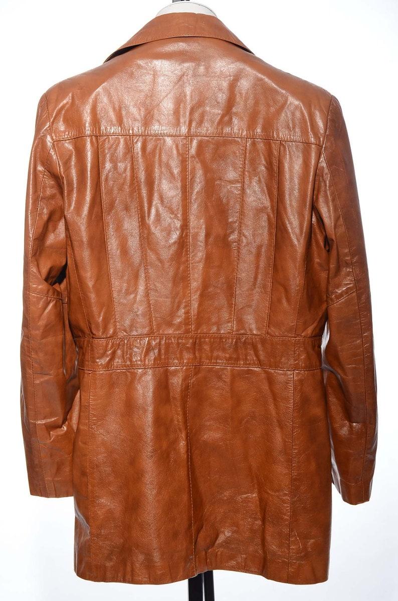 Vintage 70s Caramel Brown LEATHER Imperial Men/'s Retro Coat Jacket Disco Tall 44L Size XLT