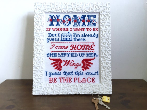 Pattern Home Is Where I Want To Be 8x10 Cross Etsy