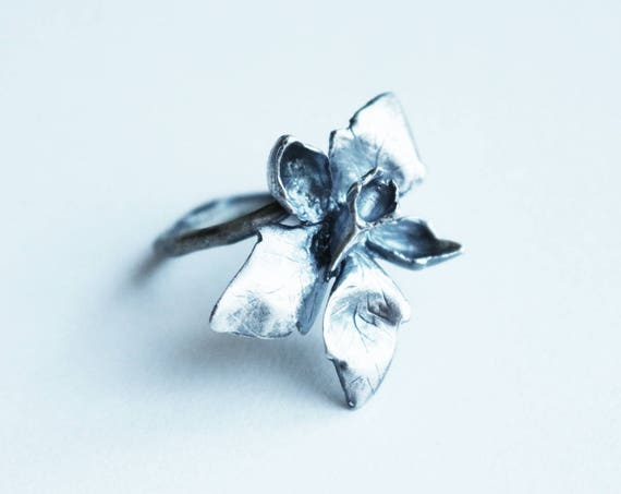 Adjustable Silver Larkspur Ring