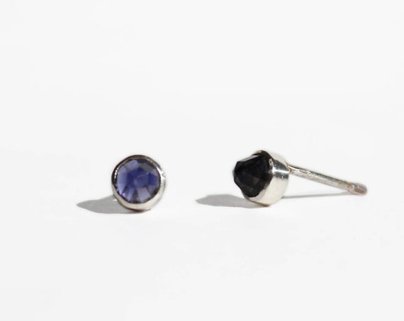 Stud Earrings | 4mm rose cut iolite and silver studs, handmade jewelry