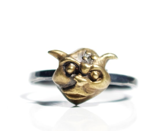 Handmade Brass and Oxidized Silver Gargoyle Ring | Labyrinth Jewelry