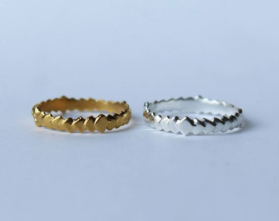 Ring | Repeating Scale Band, silver or brass, handmade jewelry