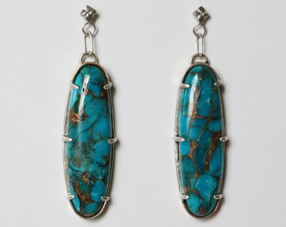 Earrings | Silver and Brass Copper Blue Turquoise Earrings, handmade jewelry