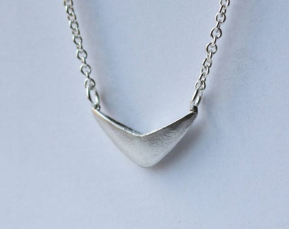Necklace | Silver Chevron Necklace, handmade jewelry