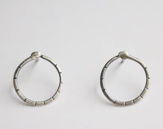 Earrings | Silver Circle Snake Studs, handmade jewelry