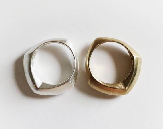 Ring | Handmade Geometric Scale Ring, Silver and Brass | handmade jewelry