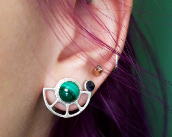Handmade Silver Malachite Sun Stud Earrings
