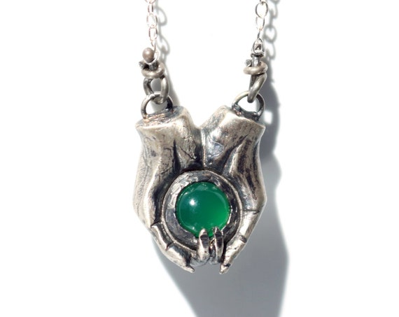 Handmade Silver and Green Onyx Goblin Hands Necklace