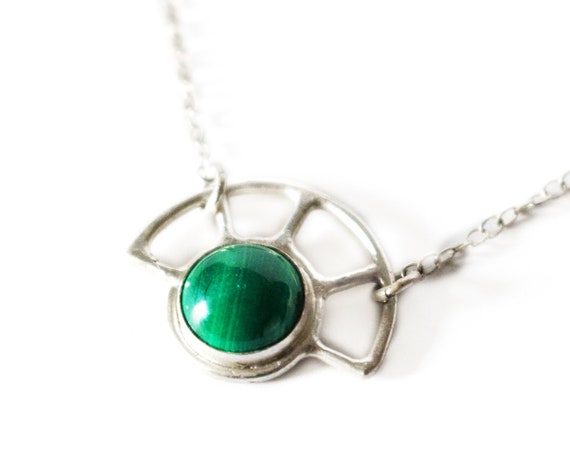 Handmade Silver Malachite Sun Necklace