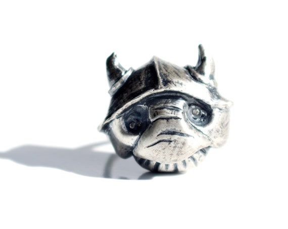 Handmade Sterling Silver Goblin Ring with Topaz Eyes | Labyrinth Jewelry