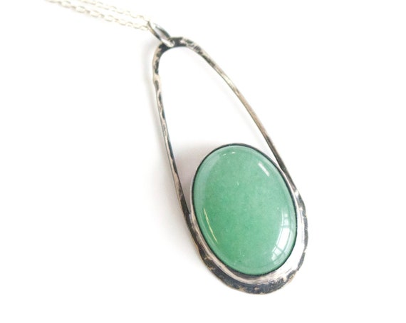 Handmade Silver and Aventurine Raindrop Necklace