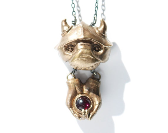 May Your Cup Runneth Over Necklace | Handmade Goblin Jewelry | Brass, Silver, Green Onyx | Labyrinth Jewelry