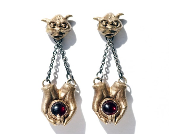 Helping Hands Earrings | Handmade in Brass and Silver with Garnet | Labyrinth Jewelry