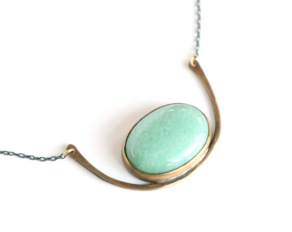 Handmade Brass and Aventurine Horizon Necklace on Oxidized Silver Chain