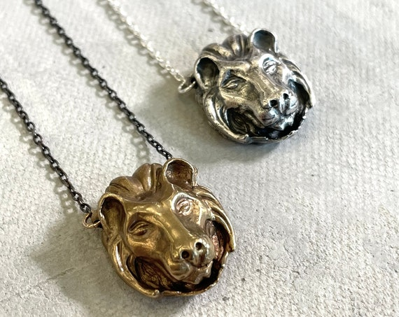Handmade Lion Necklace in brass or sterling silver