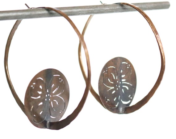 Handmade Brass Dogwood Coin Hoops