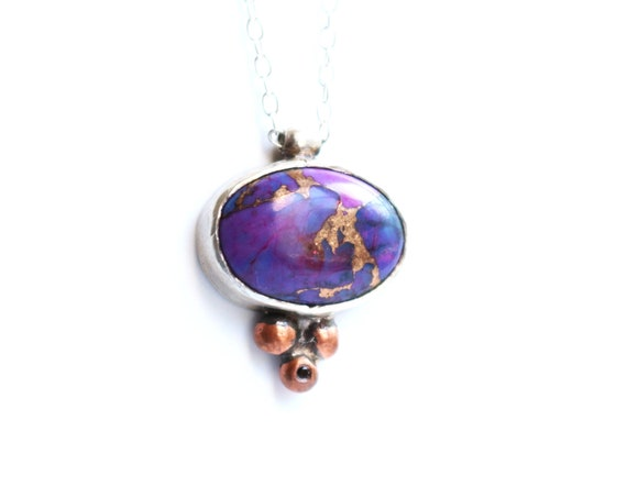 Handmade Sterling Silver and Copper Necklace set with Purple Turquoise and Black Spinel