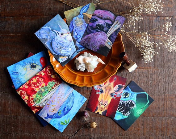 Art Postcards | Set of 8 Assorted Animal Cards, animal prints