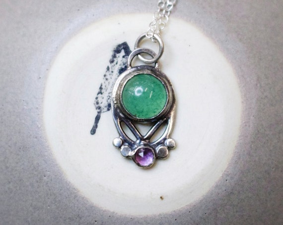 Handmade Silver Uva Necklace with Aventurine and Amethyst