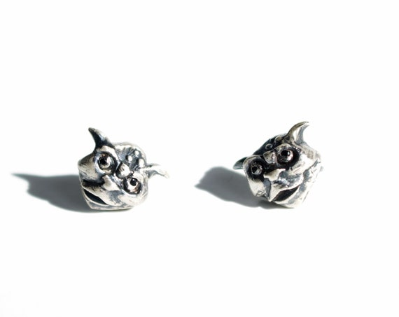 Handmade Silver and Spinel Gargoyle Stud Earrings | Labyrinth Jewelry