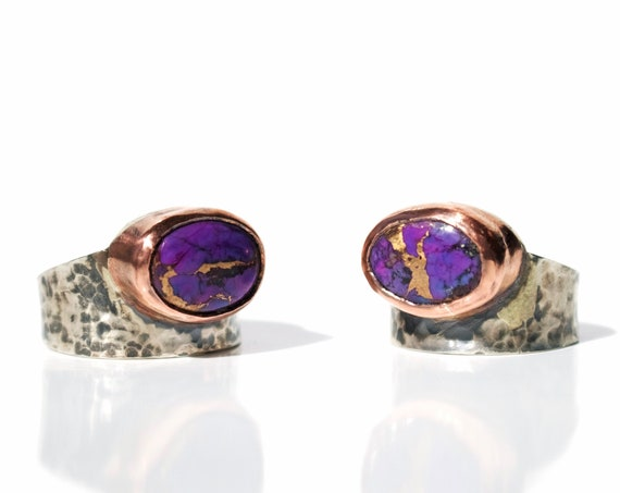 Silver and Copper Hammered Ring with Purple Turquoise | Handmade Jewelry