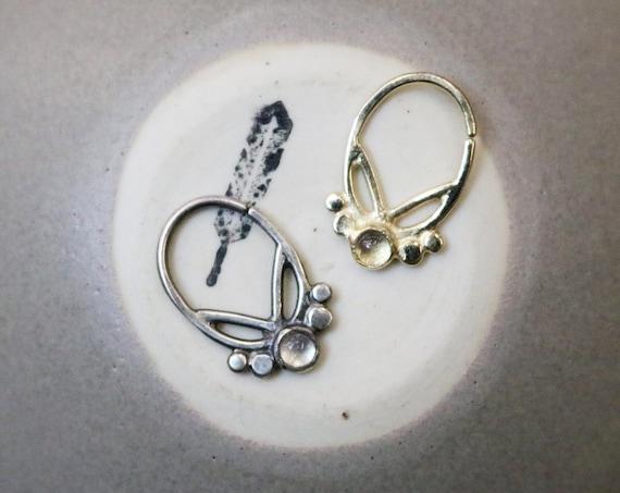 Handmade Tribal Moonstone Septum Ring in sterling silver or 14k yellow gold