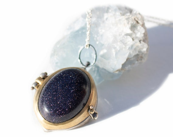 BACKORDERED Handmade Athena Locket in Sterling Silver, Brass, and Blue Goldstone | Owl Necklace