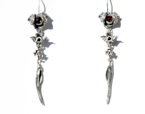 Handmade Os Anguis Earrings in Sterling Silver with Garnet + Spinel | Snake Vertebrae
