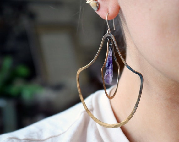 Handmade Brass and Amethyst Double Door knocker Earrings - Large