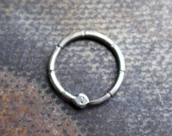 Handmade Sterling Silver Ouroboros Snake Septum or Cartilage Ring | Body Jewelry