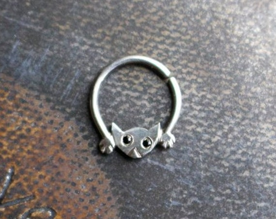 Handmade Sterling Silver Cat Septum Ring with Spinel Eyes | Body Jewelry