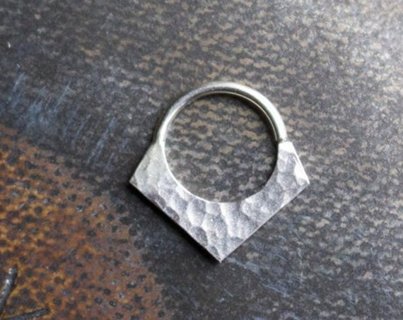Handmade Hammered Shield Shaped Septum Ring in Silver or 14k Gold | Body Jewelry