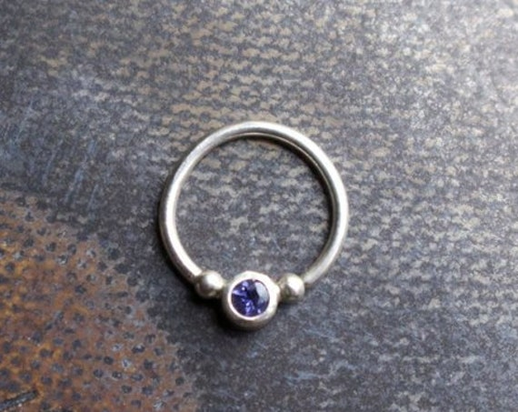 Handmade Silver and Iolite Gemstone Septum Ring | Body Jewelry