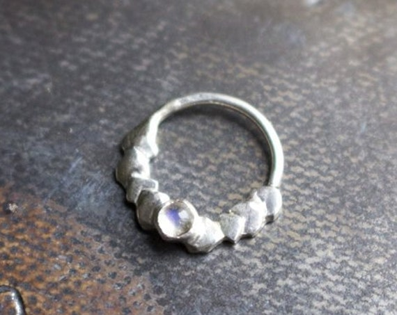 Handmade Silver and Moonstone Septum Ring | Body Jewelry